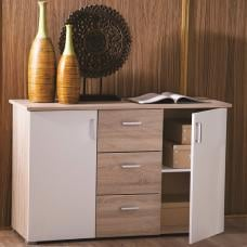 Sanford Wooden Sideboard In Brushed Oak And Pearl White