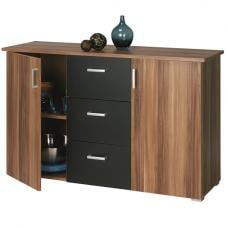 Sanford Wooden Sideboard In Merano Core Walnut And Black