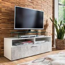 Santana Wooden TV Stand In Stone Grey And White With LED