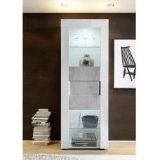 Santino Display Cabinet In White High Gloss And Grey With LED
