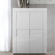 Santino Modern Highboard In White High Gloss With 2 Doors