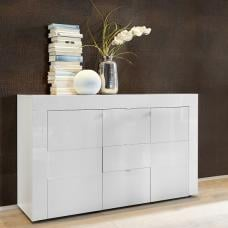 Santino Sideboard In White High Gloss With 2 Doors 3 Drawers