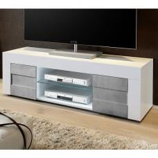 Santino TV Stand In White High Gloss And Grey With 2 Doors