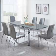 Sarah Extendable Glass Dining Table In Grey With 6 Opal Chairs