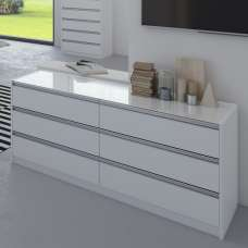 Sario Glass Top Chest Of Drawers Wide In White With 6 Drawers