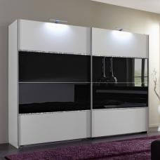 Sicily Sliding Wardrobe Alpine White And Black Glass