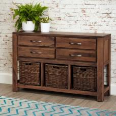 Sayan Wodoen Console Table In Walnut With 4 Drawers