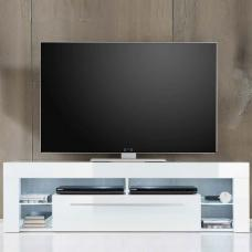 Sorrento Lowboard TV Stand In White High Gloss With White LED