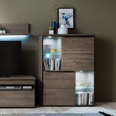 Seattle Wooden Display Cabinet In Oak And Stone Grey With LED