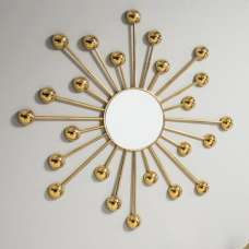 Seguro Contemporary Wall Mirror In Gold Finish