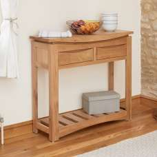 Seldon Contemporary Console Table In Oak With 2 Drawers