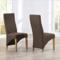 Seline Dining Chair In Cinnamon Fabric And Wooden Legs In A Pair