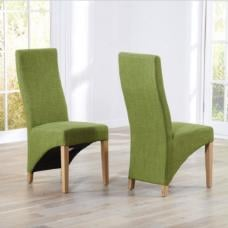 Seline Dining Chair In Lime Fabric And Wooden Legs In A Pair