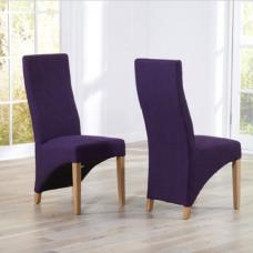 Seline Dining Chair In Purple Fabric And Wooden Legs In A Pair