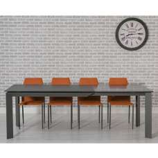 Seram Extendable Glass Dining Table White And 6 Orange Chairs