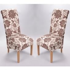 Sergio Fabric Dining Chair In Floral Brown In A Pair