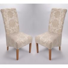Sergio Fabric Dining Chair In Floral Cream In A Pair