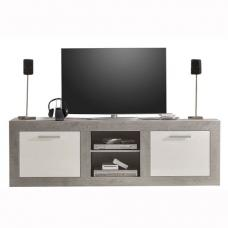 Parker TV Stand In Concrete And White High Gloss With LED