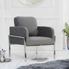 Sherri Velvet Accent Lounge Chair In Grey With Metal Frame