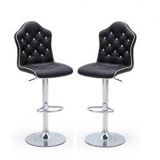 Sigma Modern Bar Stools In Black Faux Leather In A Pair