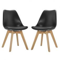 Sigmon Modern Dining Chairs In Matt Black PU Seat In A Pair