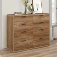 Silas Chest Of Drawers Wide In Rustic Oak Effect With 8 Drawers