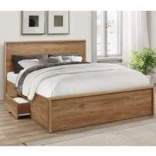 Silas Wooden King Size Bed In Rustic Oak Effect With 2 Drawers