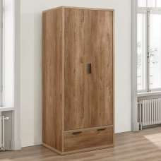 Silas Wooden Wardrobe In Rustic Oak Effect With 2 Doors