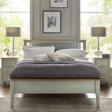 Simona Wooden King Size Bed In Sage Green