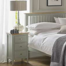 Simona Bedside Cabinet In Sage Green With 3 Drawers