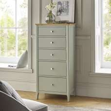 Simona Chest Of Drawers Tall In Sage Green With 5 Drawers