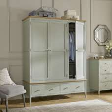 Simona Wooden Wardrobe Wide In Sage Green With 3 Doors