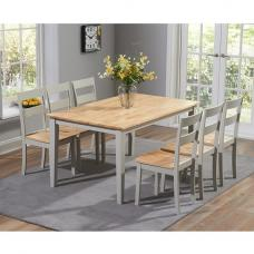 Bremen Dining Table In Oak And Grey With 6 Dining Chairs