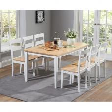 Bremen Dining Table In Oak And White With 6 Dining Chairs