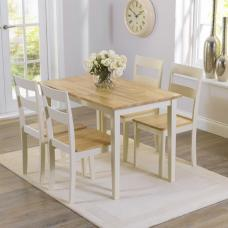 Bremen Dining Table In Oak And Cream With 4 Dining Chairs