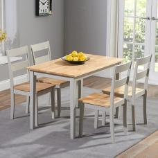 Bremen Dining Table In Oak And Grey With 4 Dining Chairs