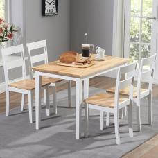 Bremen Dining Table In Oak And White With 4 Dining Chairs