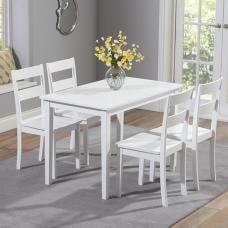 Bremen Wooden Dining Table In White With 4 Dining Chairs