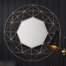 Skyline Metallic Wall Mirror Round In Gold