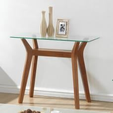 Snowden Glass Console Table In Clear With Walnut Base