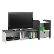 Soccer TV Stand In Pearl White And Grey With 1 Drawer
