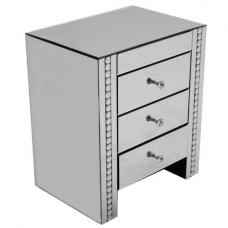 Solano Mirrored Glass Bedside Cabinet With 3 Drawers
