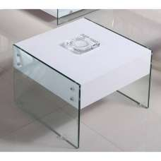 Solea Modern Lamp Table In White High Gloss With Glass Legs