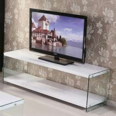 Solea Modern TV Stand In White High Gloss With Glass Legs