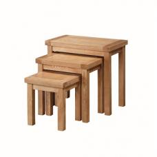 Solero Wooden Nest of 3 Tables In Ashwood