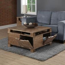 Somerset Wooden Coffee Table In Rustic Oak With 4 Flap Doors