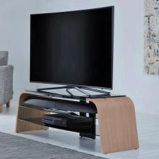 Sonic Wooden TV Stand In Light Oak With Black Glass