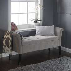 Sophie Modern Fabric Ottoman Seat In Silver Chenille