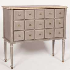 Spencer Contemporary Chest Of Drawers In Grey With 15 Drawers