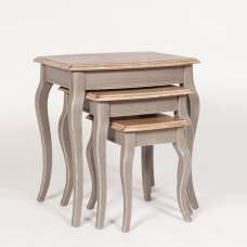 Spencer Wooden Nest Of Tables In Grey With 3 Tables